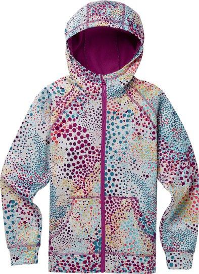 Burton Girls Crown Bonded Full-Zip Hoodie, Stout White Dots L