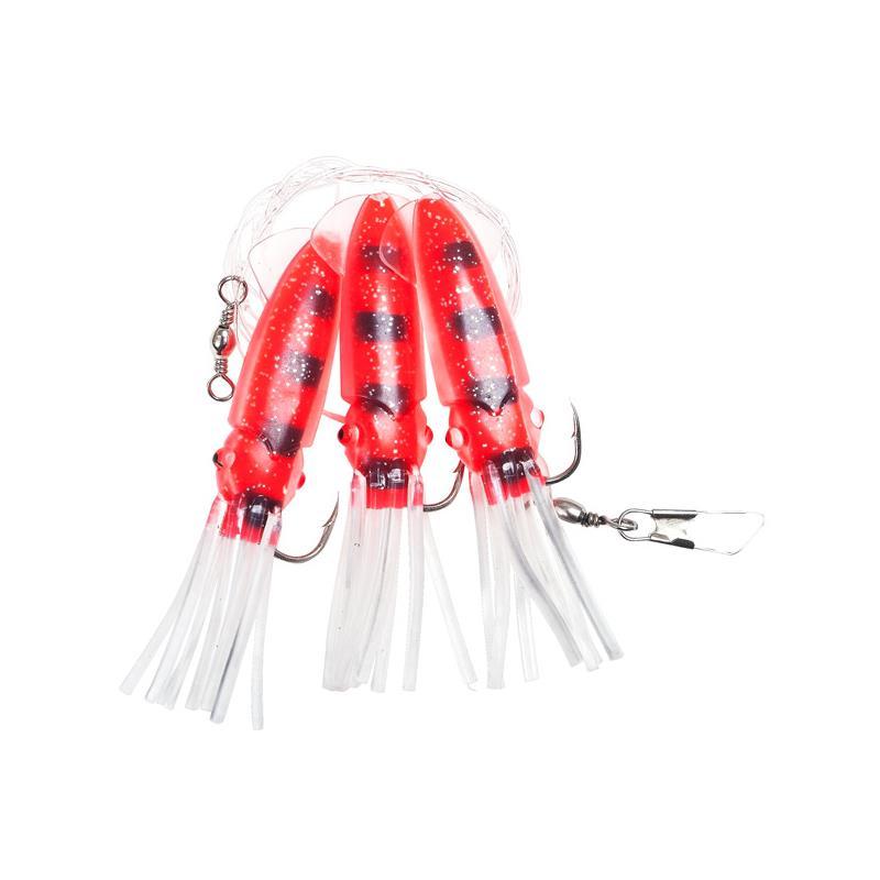 Fladen Winged Octopus Rød/Svart #10/0 3 kroker