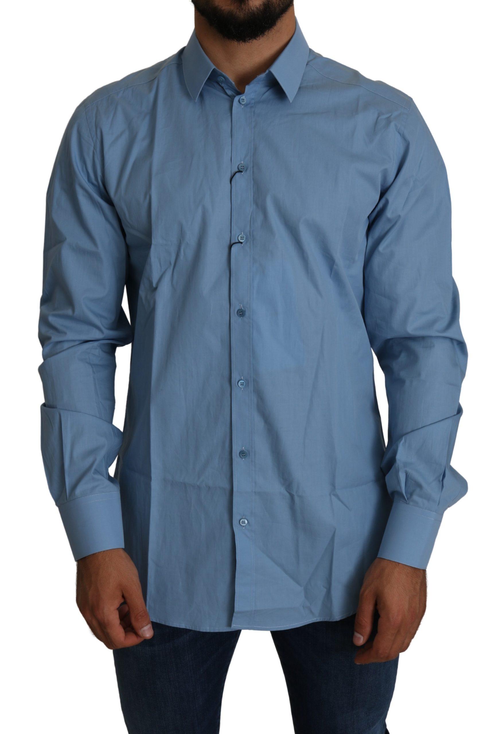 Dolce & Gabbana Men's Formal Cotton Shirt Blue TSH5232 - IT42 | XL