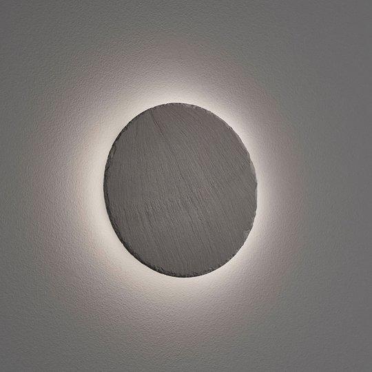 LED-vegglampe Raven av skifer, rund