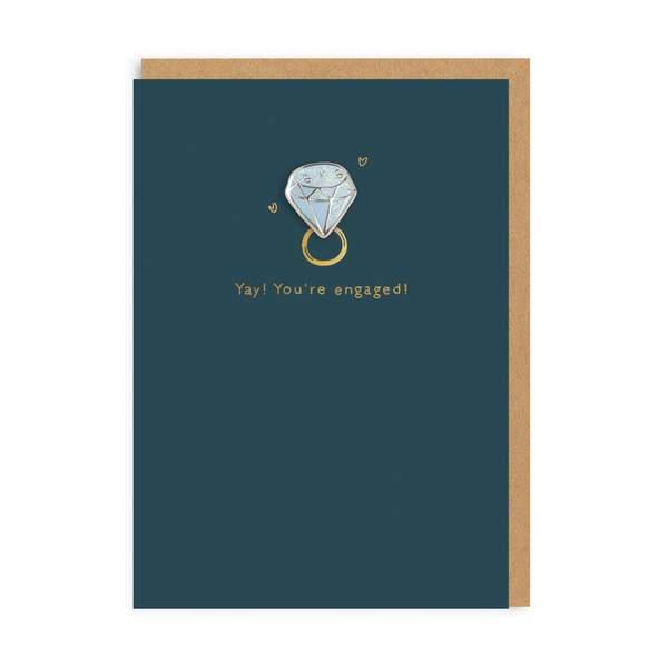 Diamond Engagement Enamel Pin Greeting Card