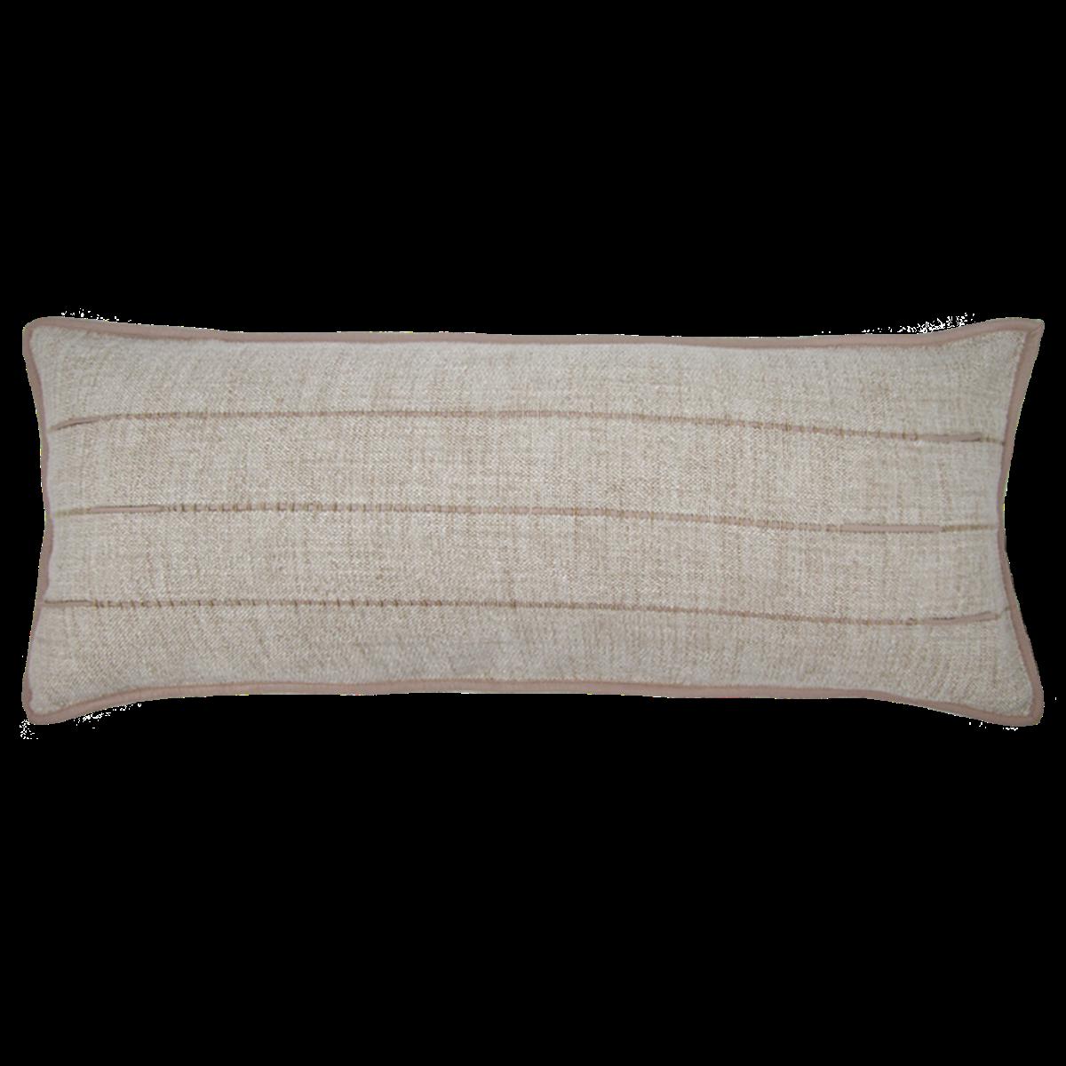 de Le Cuona   Hoxton Sofa Cushion With Leather Detail Flax