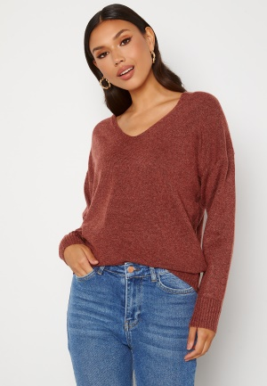 ONLY Rica Life L/S V-Neck Pullover Knit Red Ochre XS
