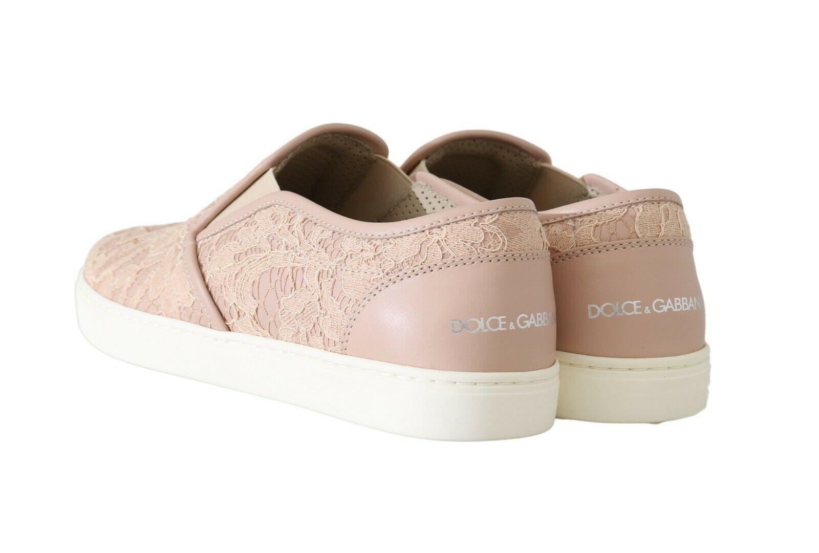 Dolce & Gabbana Women's Leather Lace Flat Shoe Pink LA5683 - EU40/US9.5
