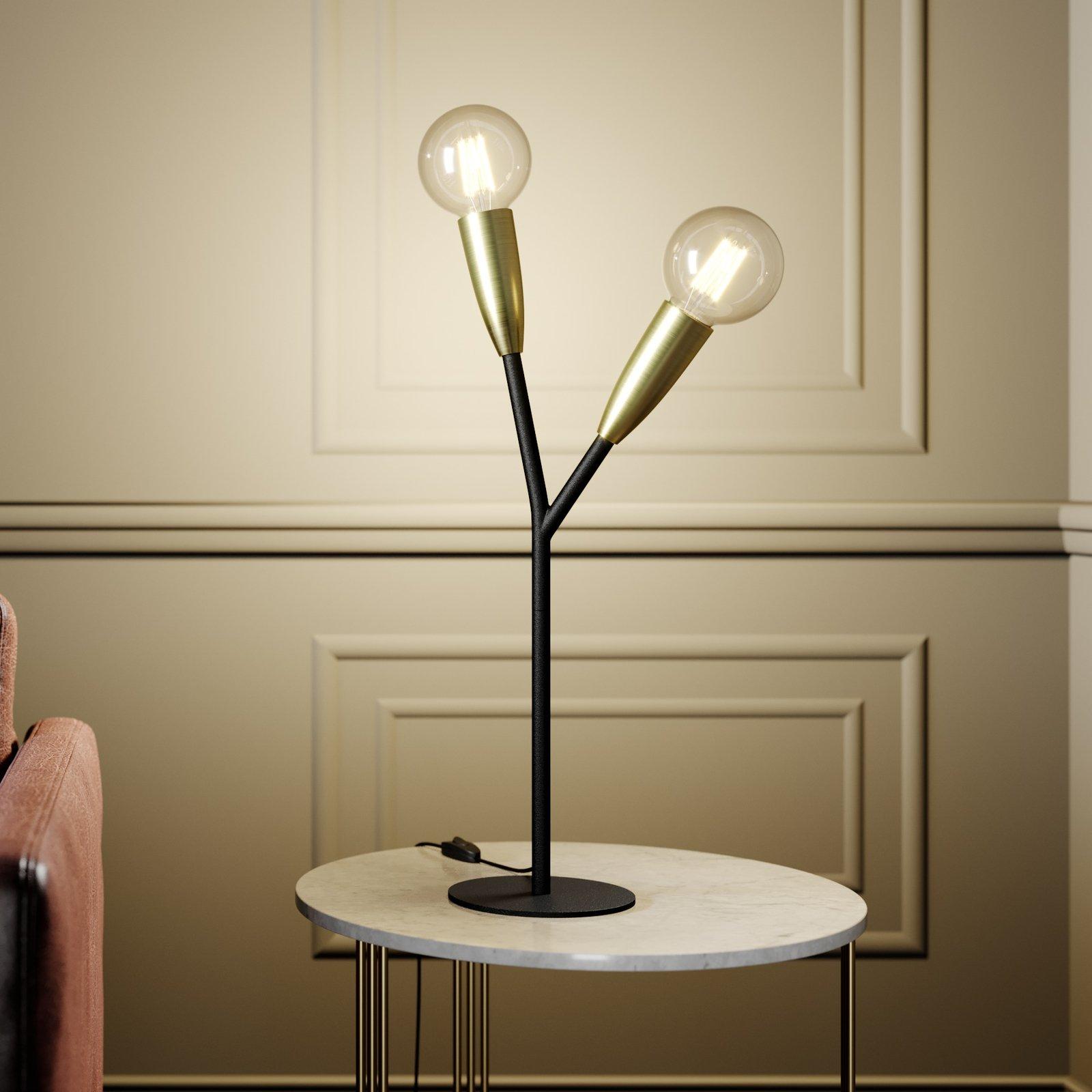 Lucande Carlea bordlampe, 2 lysk., svart messing