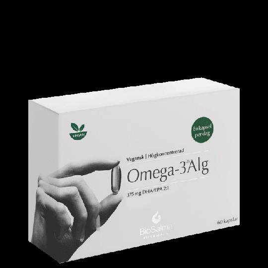 Omega-3 av Alg 375mg DHA/EPA, 60 kapslar
