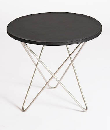Mini o-table leather sidebord – Black/stainless