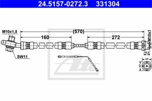 Jarruletku, Taka-akseli, vasen, BMW X5 [E53], 34 30 1 165 765