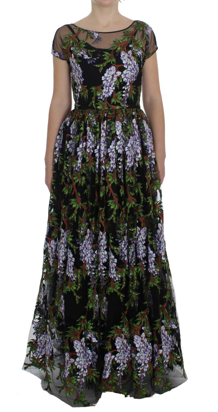 Dolce & Gabbana Women's Floral Embroidered Full Maxi Dress Black NOC10185 - IT40|S