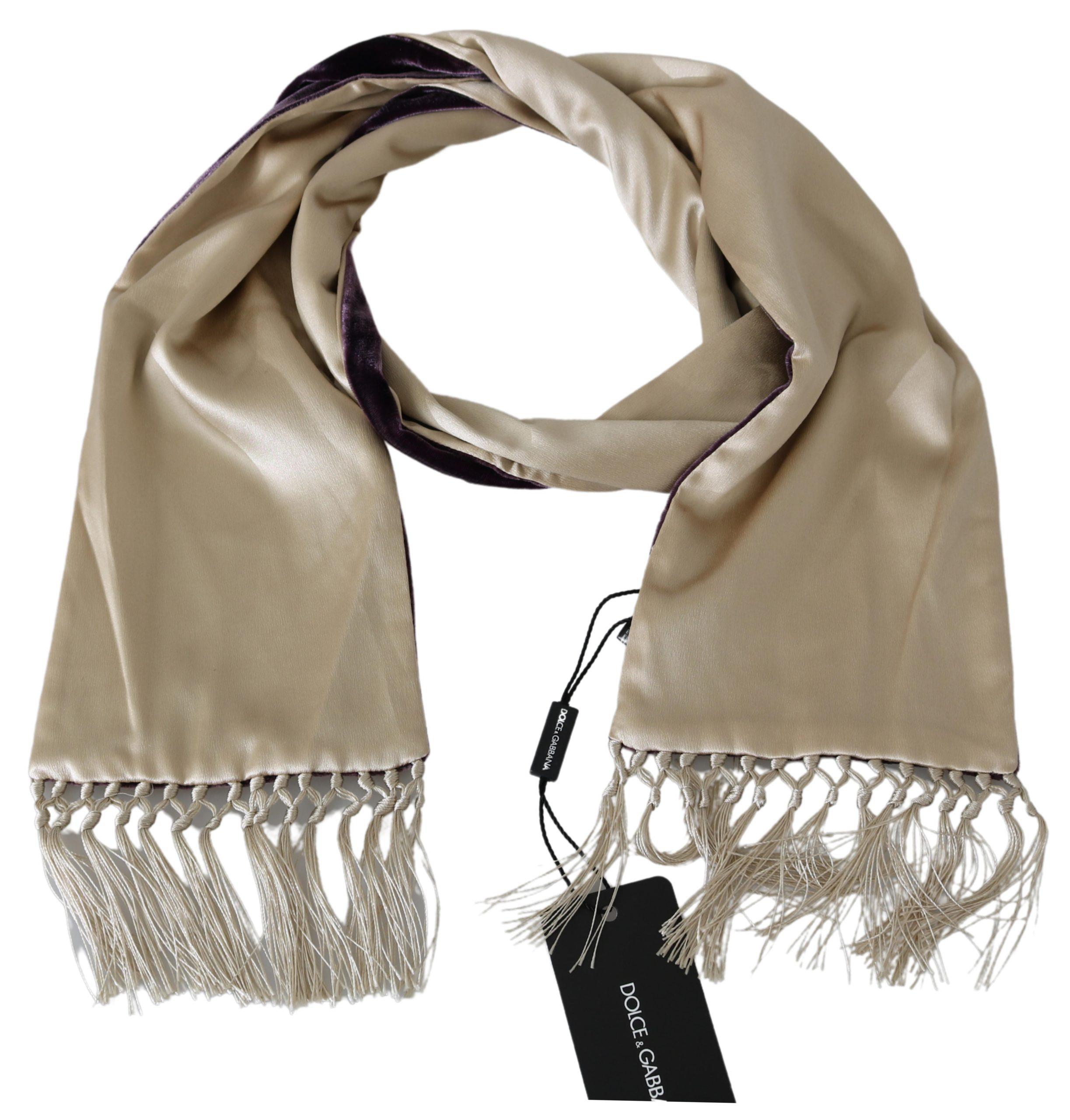 Dolce & Gabbana Men's Silk Viscose Wrap Scarf Beige MS1762