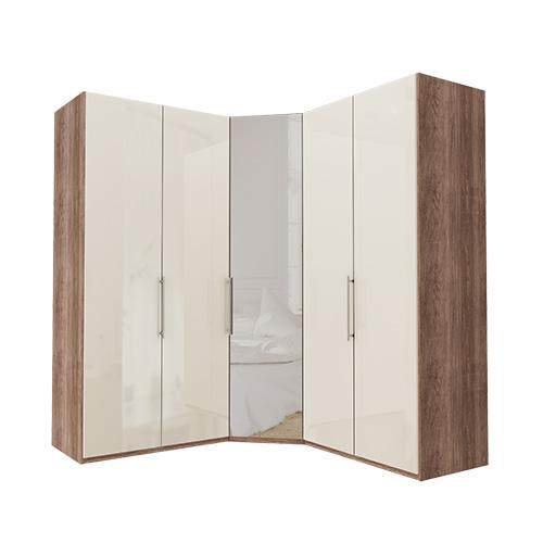 Garderobe Atlanta - Mørk rustikk eik 100 + hjørne + 100, 216 cm