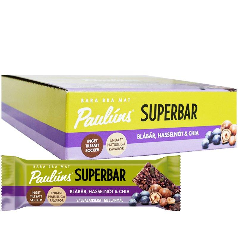 Hel Låda Superbars Blåbär 15 x 40g - 70% rabatt