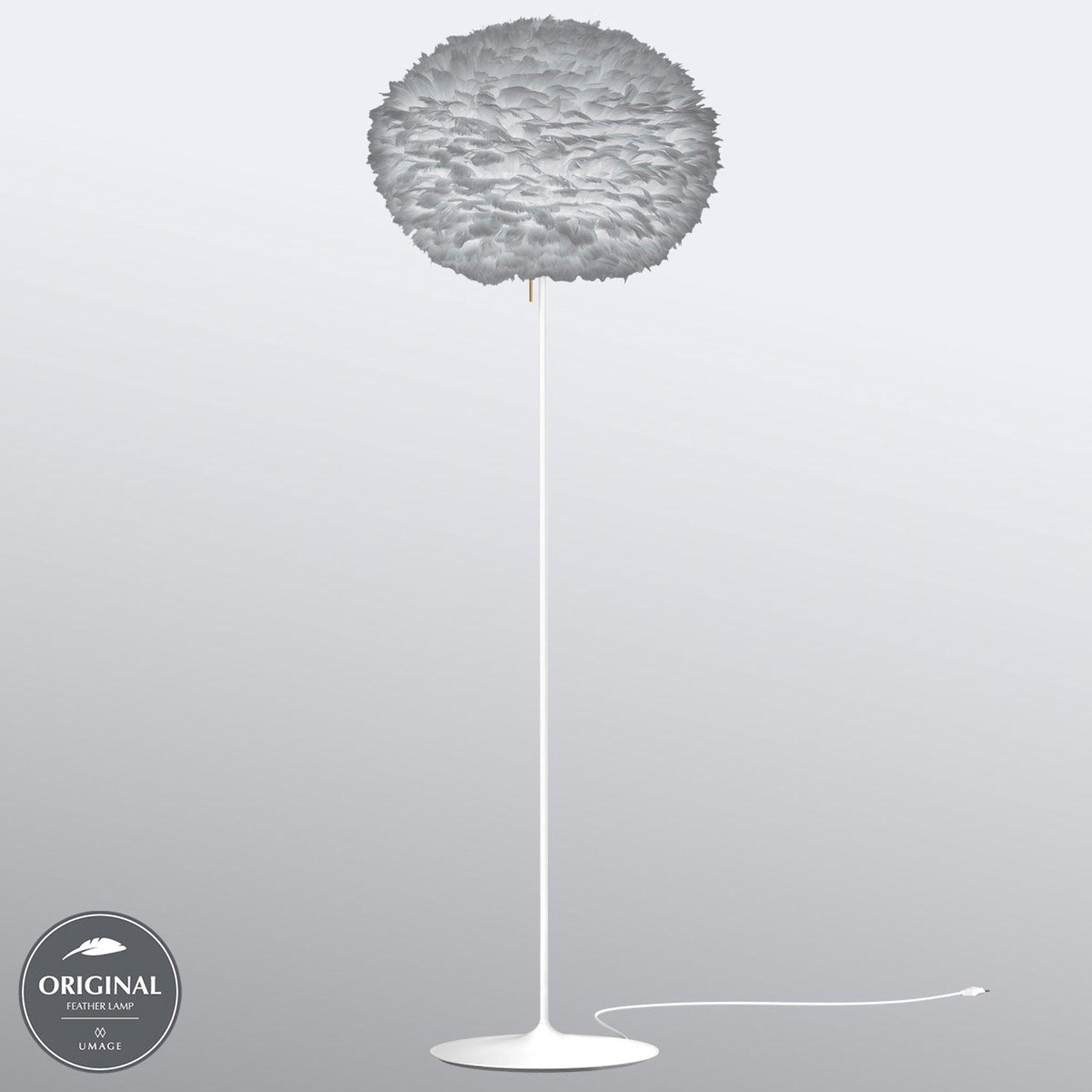 Lysegrå gåsefjærskjerm - gulvlampe Eos large