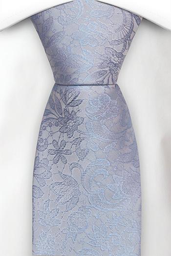Silke Slips, Ton-i-ton broderte blomster i lyseblått, Notch VIGSEL Baby blue