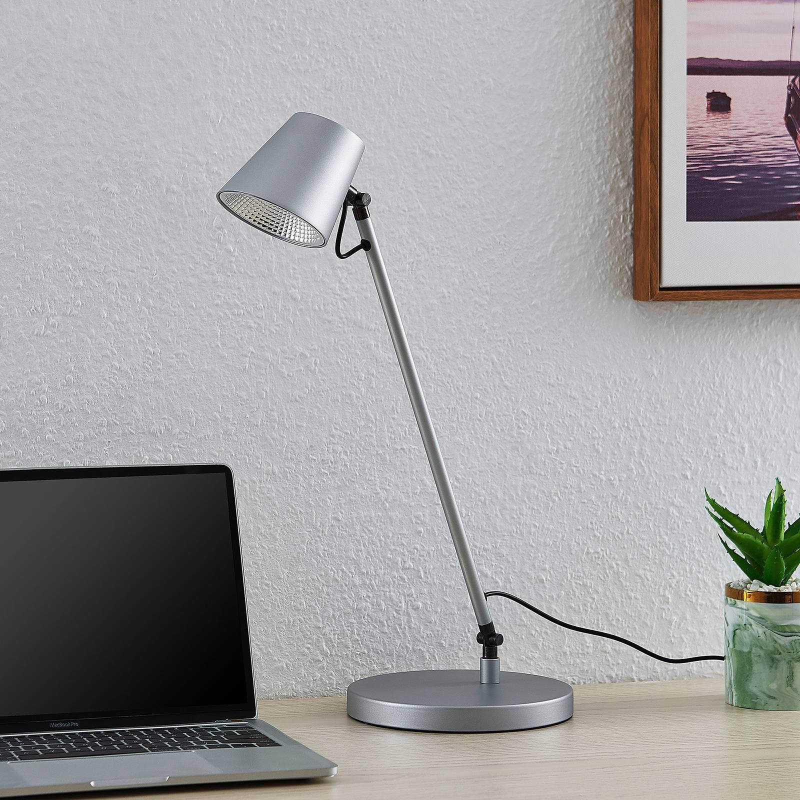 Lucande Kenala -LED-pöytälamppu, hopea