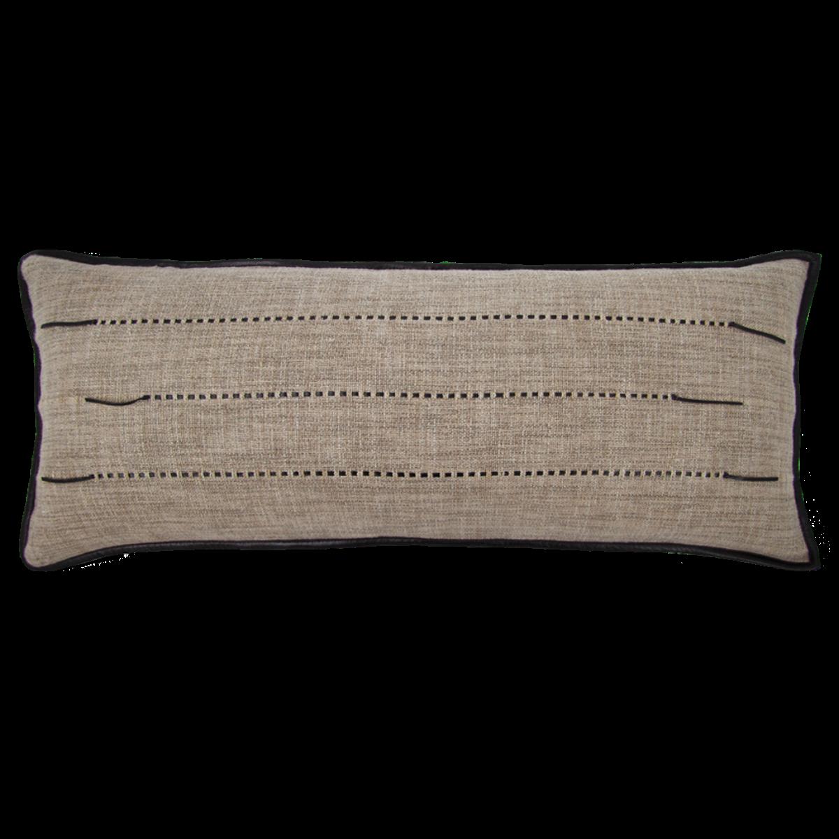 de Le Cuona | Hoxton Sofa Cushion With Leather Detail Rye