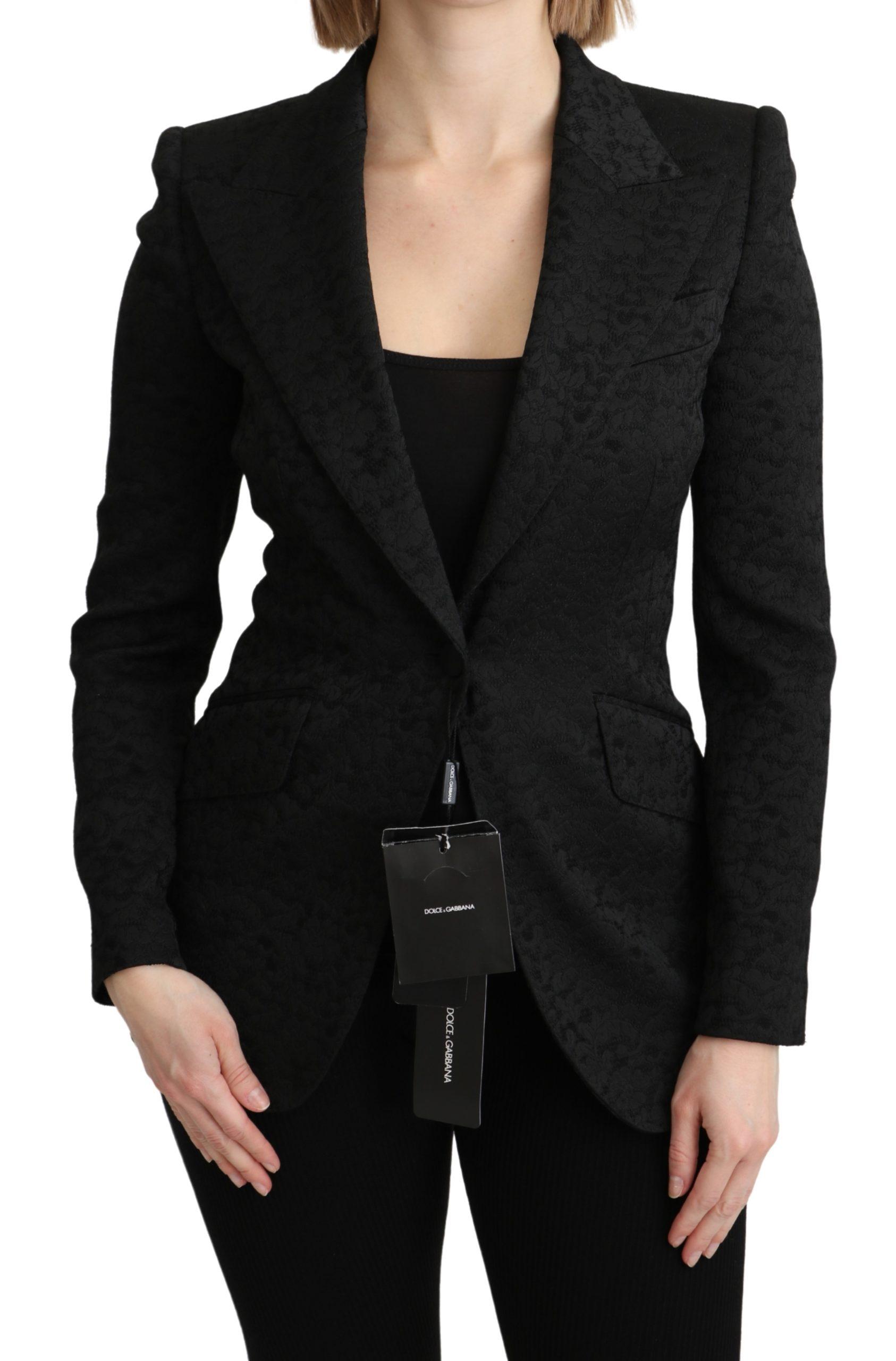 Dolce & Gabbana Women's Brocade Single Breasted Blazer Black KOS1794 - IT36 | XS
