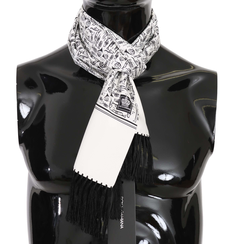 Dolce & Gabbana Men's Musical Instrument Print Silk Scarf White MS5118