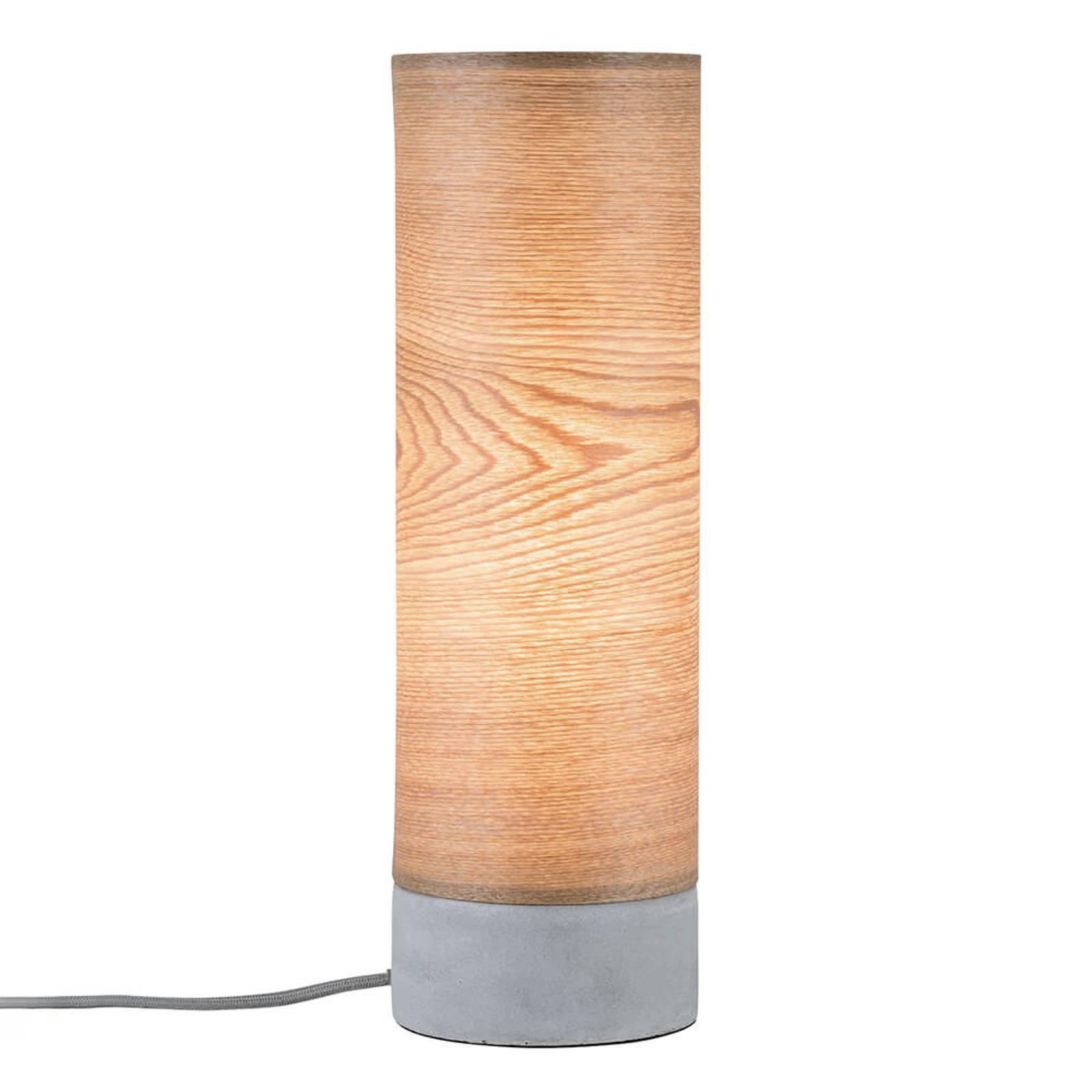Sylindrisk bordlampe Skadi i treverk med betongfot