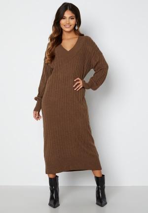 ONLY New Tessa L/S Midi V-Neck Dress Chestnut Detal: Mela L