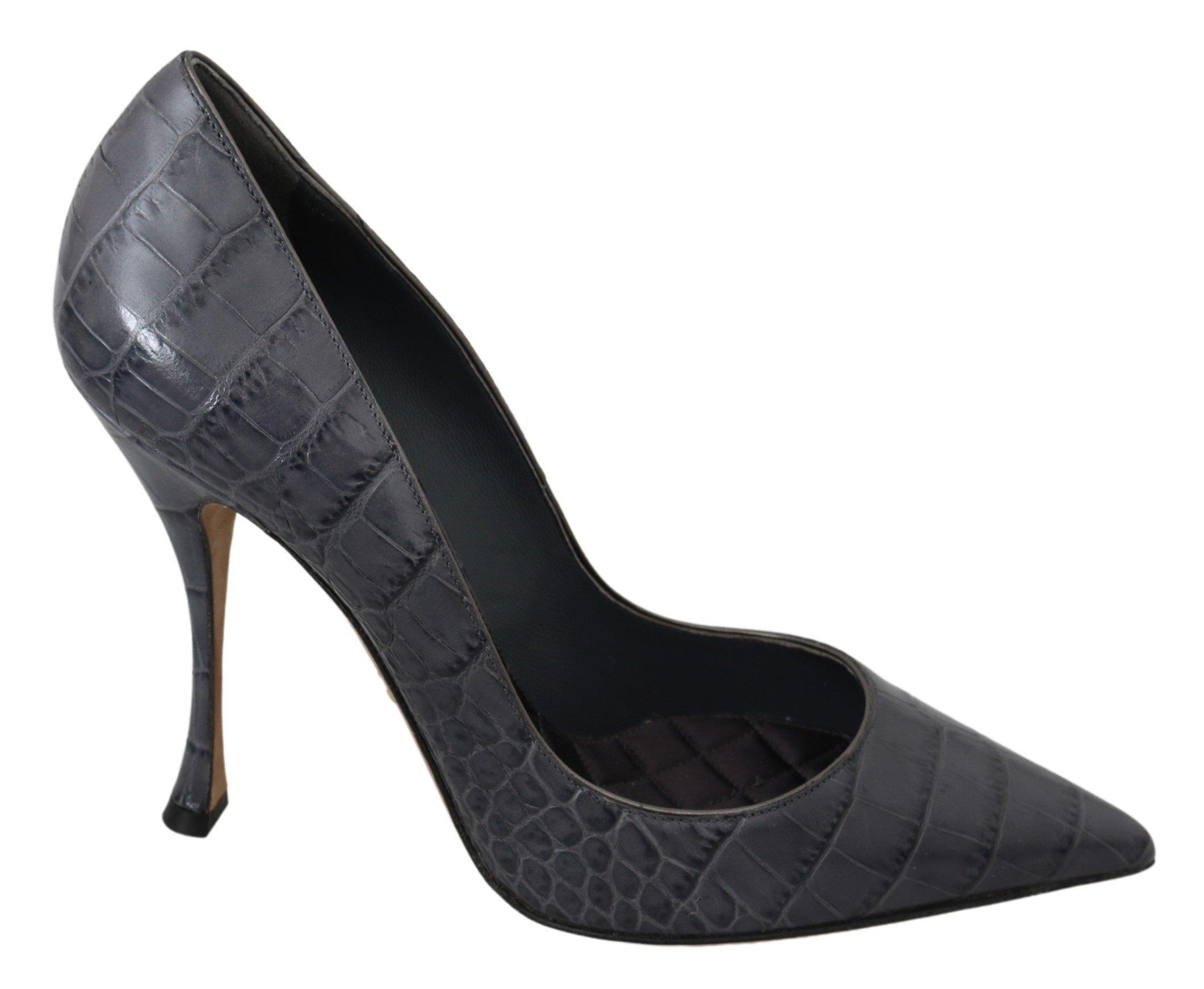Dolce & Gabbana Women's Leather High Pumps Gray LA6898 - EU39/US8.5