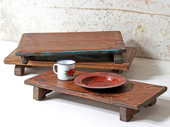 Vintage Wooden Tray Brown