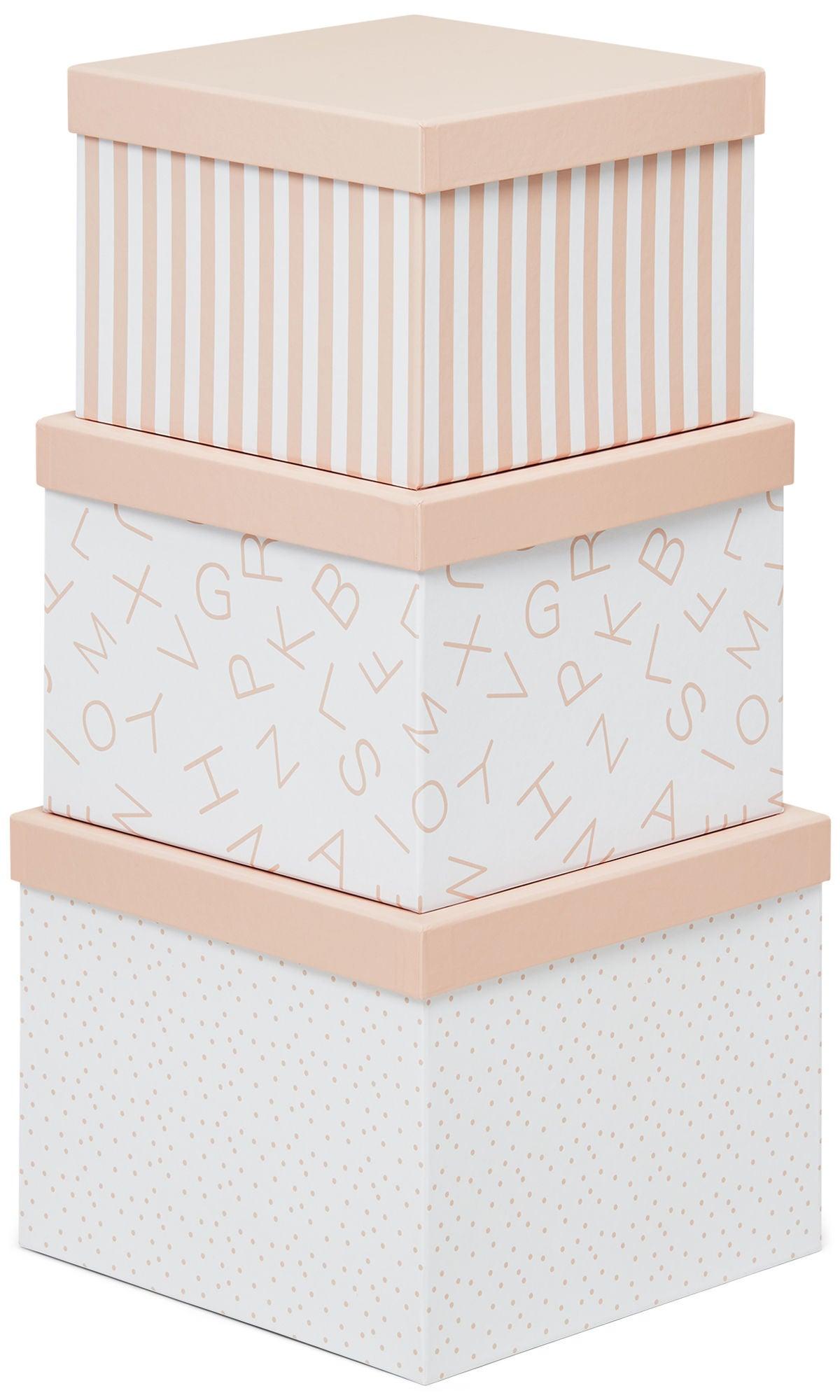 Alice & Fox Säilytyslaatikot 3-pack, Vaaleanpunainen