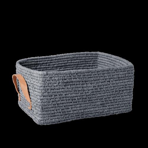 Rice - Raffia Rectangular Basket w. Leather Handle - Blue