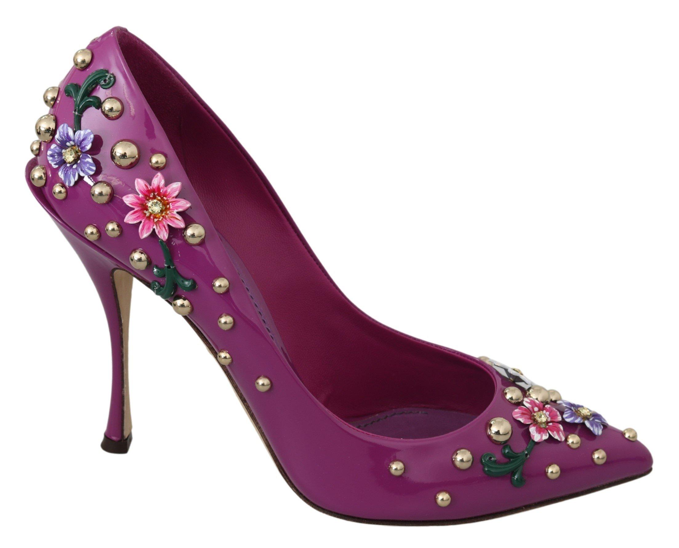 Dolce & Gabbana Women's Floral Crystal Studded Pumps Violet LA6928 - EU39/US8.5