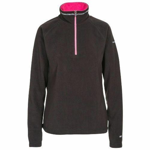 Trespass Women's Half Zip Top Fleece Various Colours Skylar - Black XS