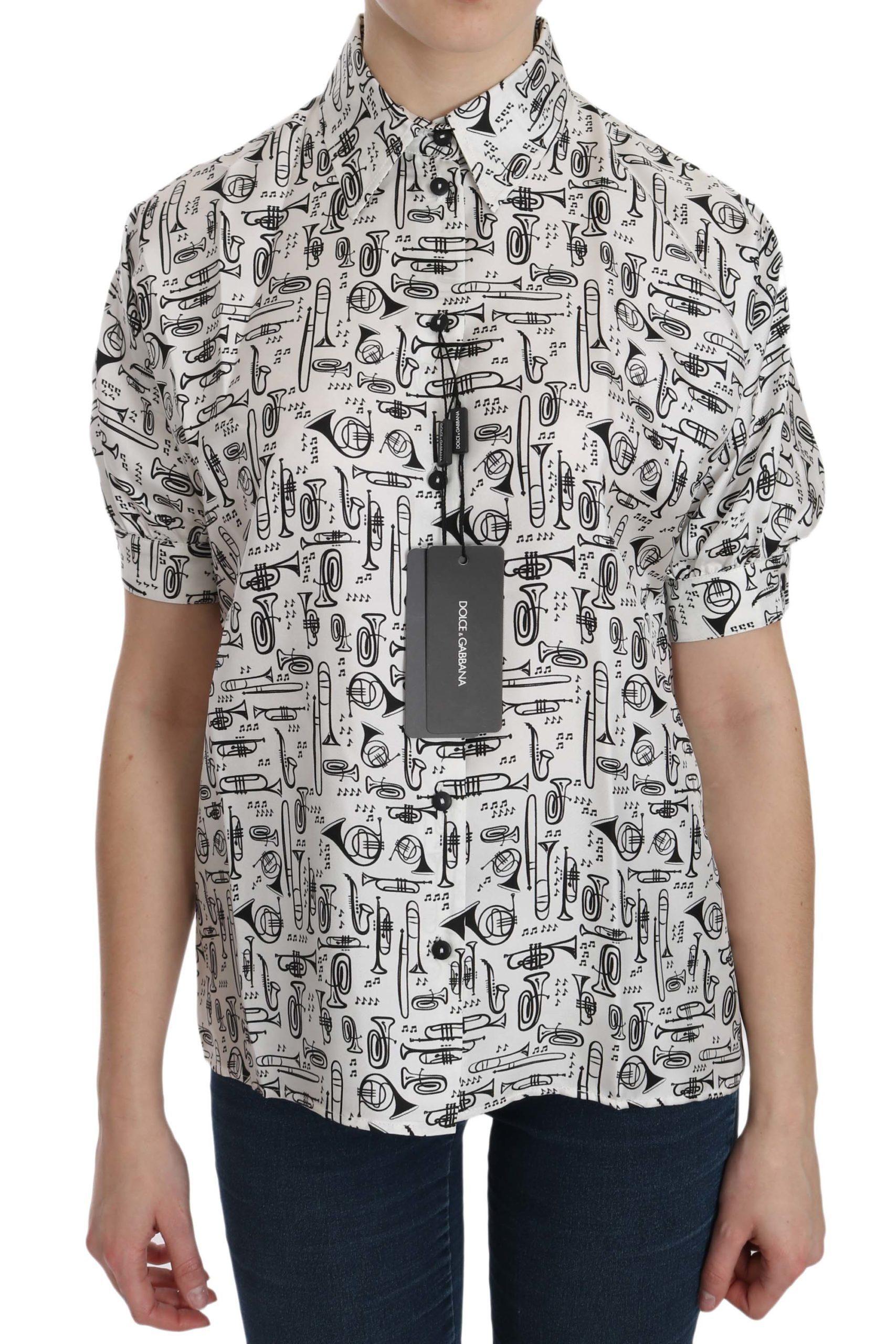 Dolce & Gabbana Women's Musical Instrument Collared Shirt White TSH3114 - IT36|XXS
