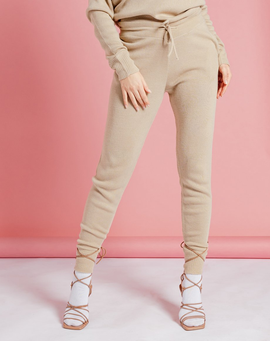 Auriel Knitted Lounge Bottoms - Stone / 8