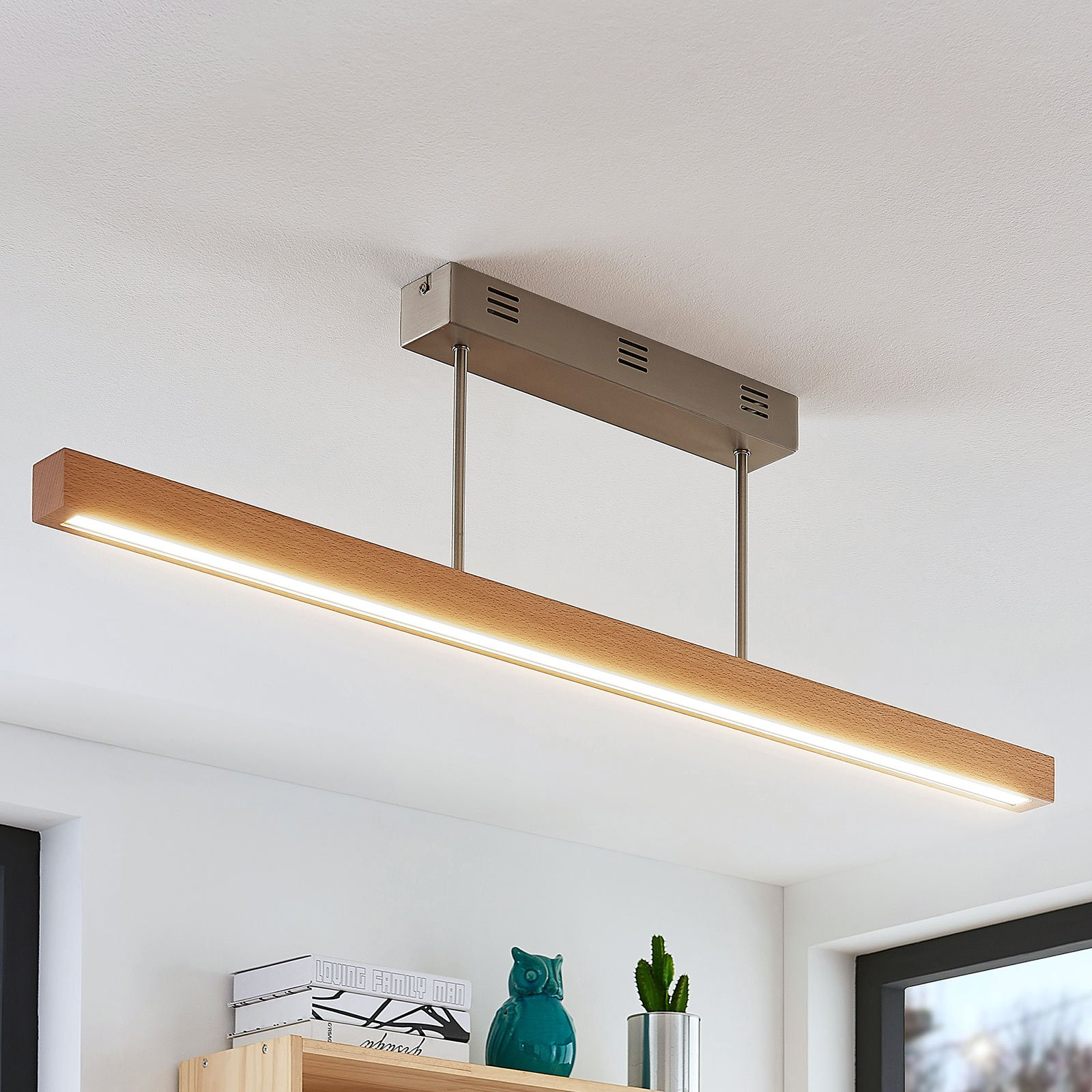 LED-tretaklampe Tamlin, bøk, 100 cm