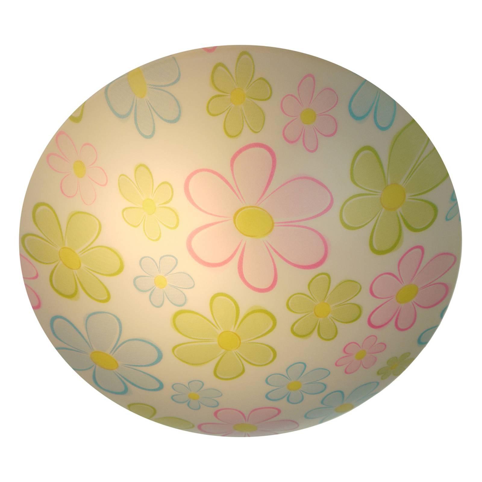 Rund taklampe til barnerommet med fargede blomster