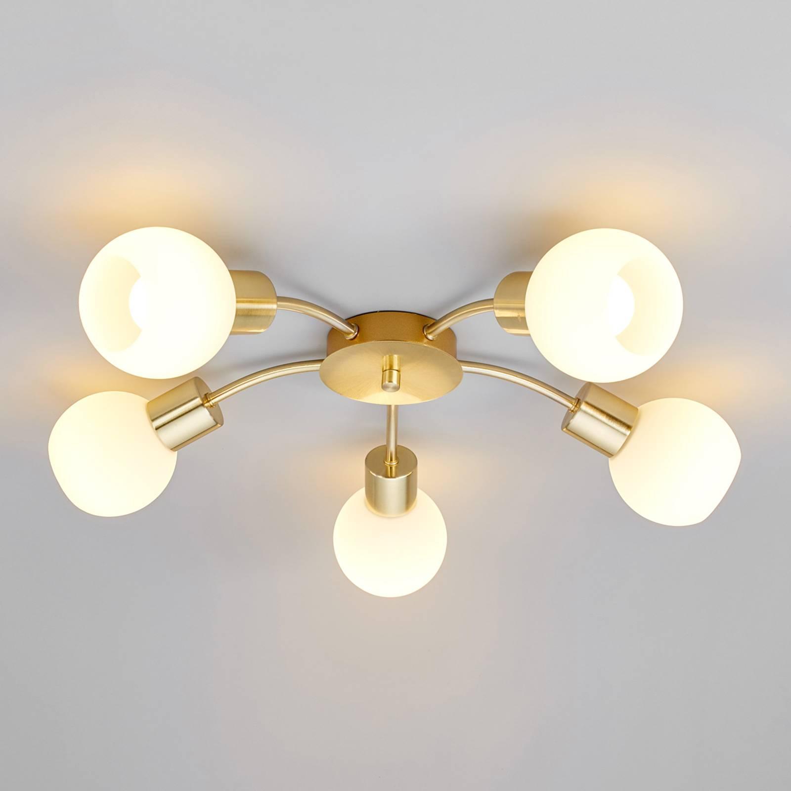 5-lamppuinen LED-kattovalaisin Elaina, messinki
