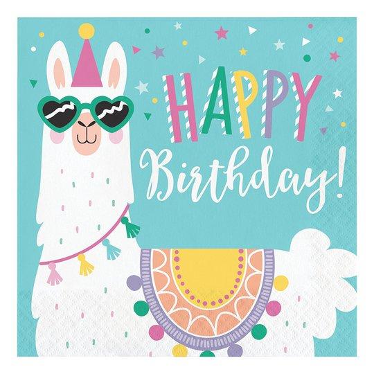 Servetter Llama Party Happy Birthday - 16-pack