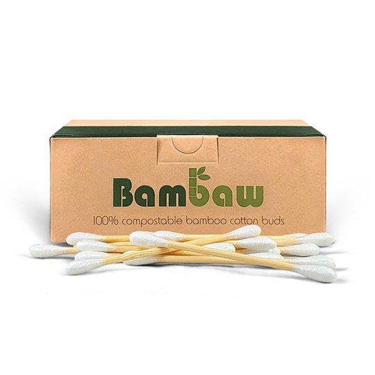 Bambaw Ekologiska Bomullstops med Bambupinne, 200 st