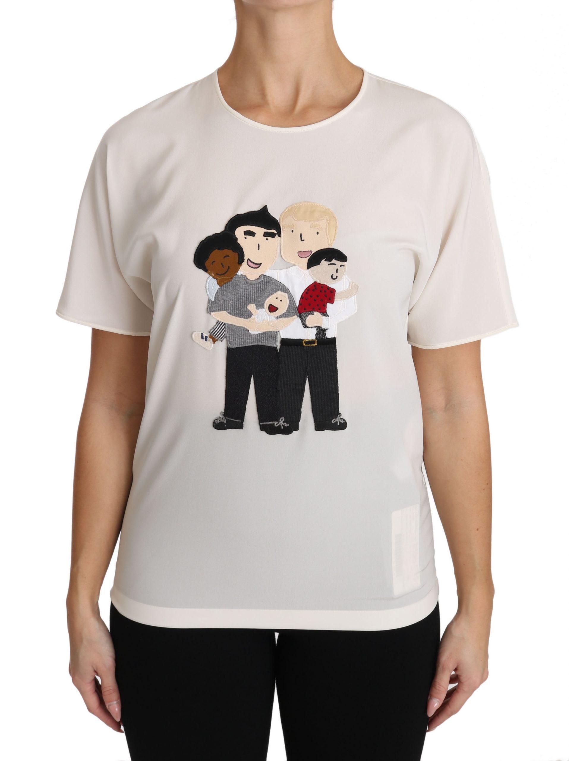 Dolce & Gabbana Women's Silk Stretch T-Shirts White TSH3082 - IT36|XXS