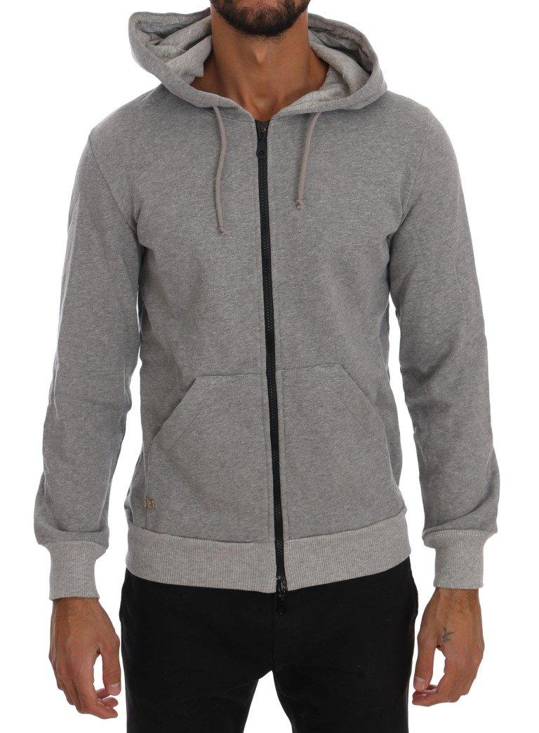 Daniele Alessandrini Men's Full Zipper Hodded Cotton Sweater Gray TSH1340 - S