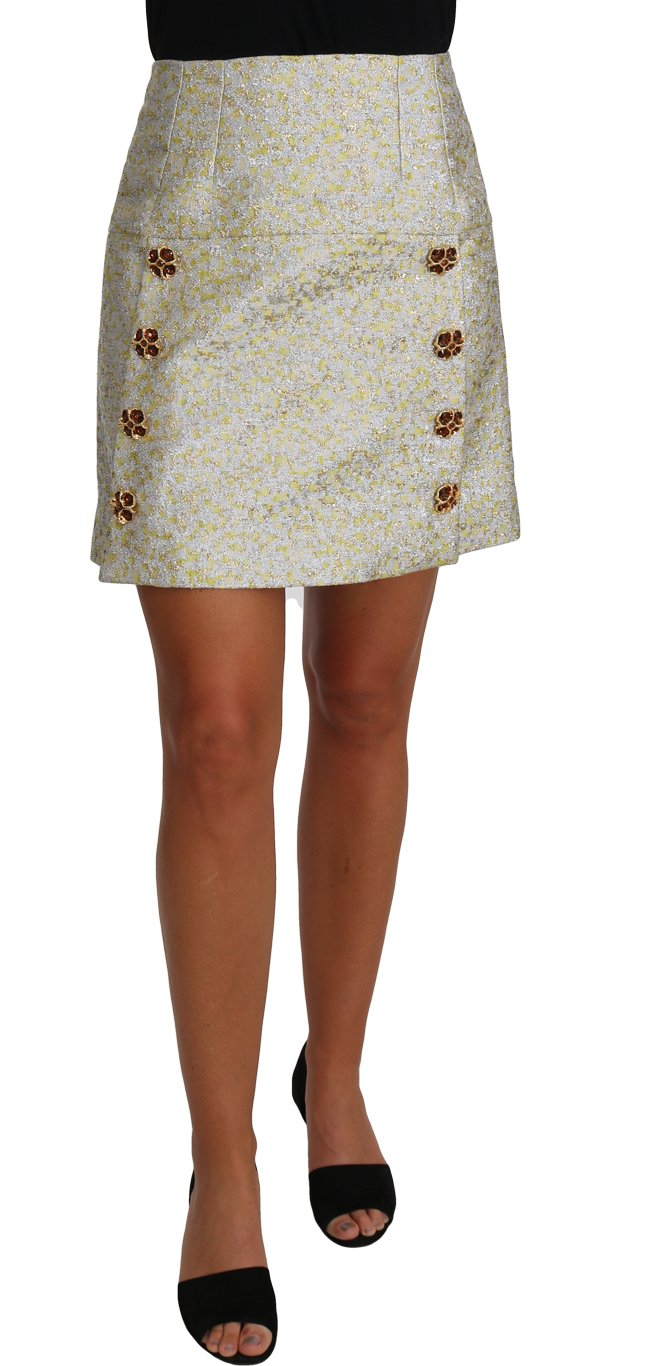 Dolce & Gabbana Women's Brocade Crystal Jaquard Mini Skirt Gold PAN61031 - IT40 S