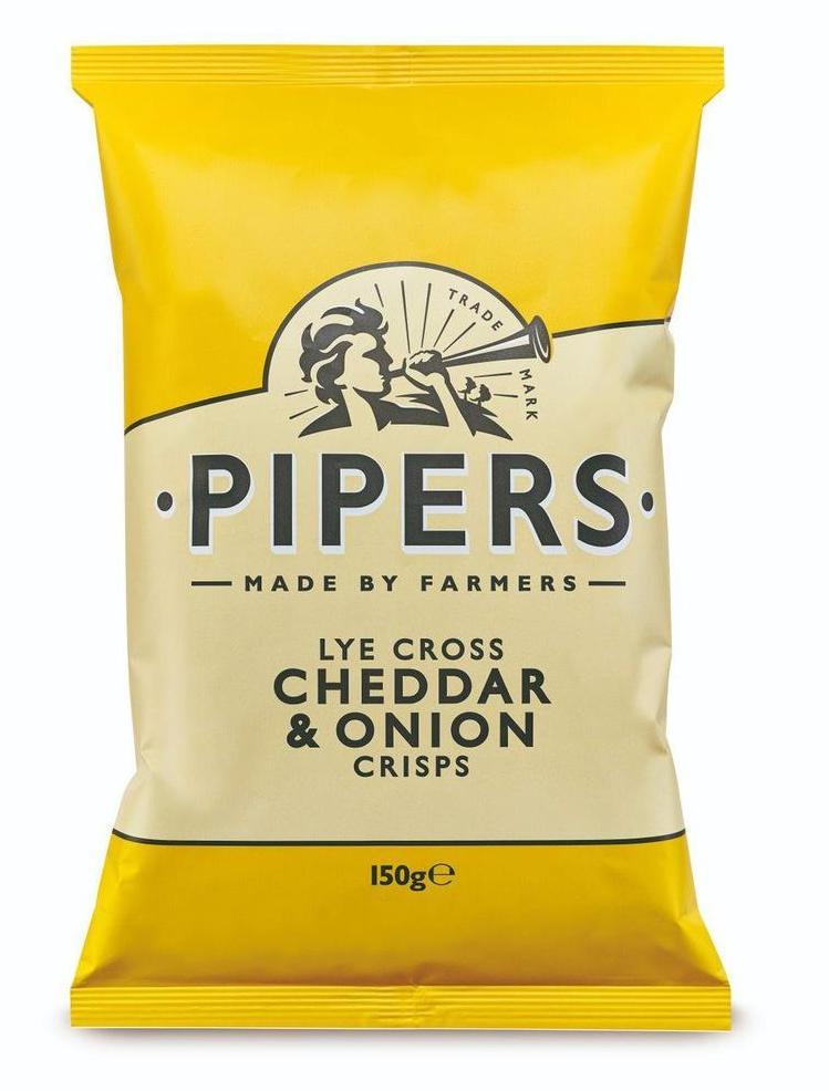 Pipers Crisps Lye Cross Cheddar & Onion 150g