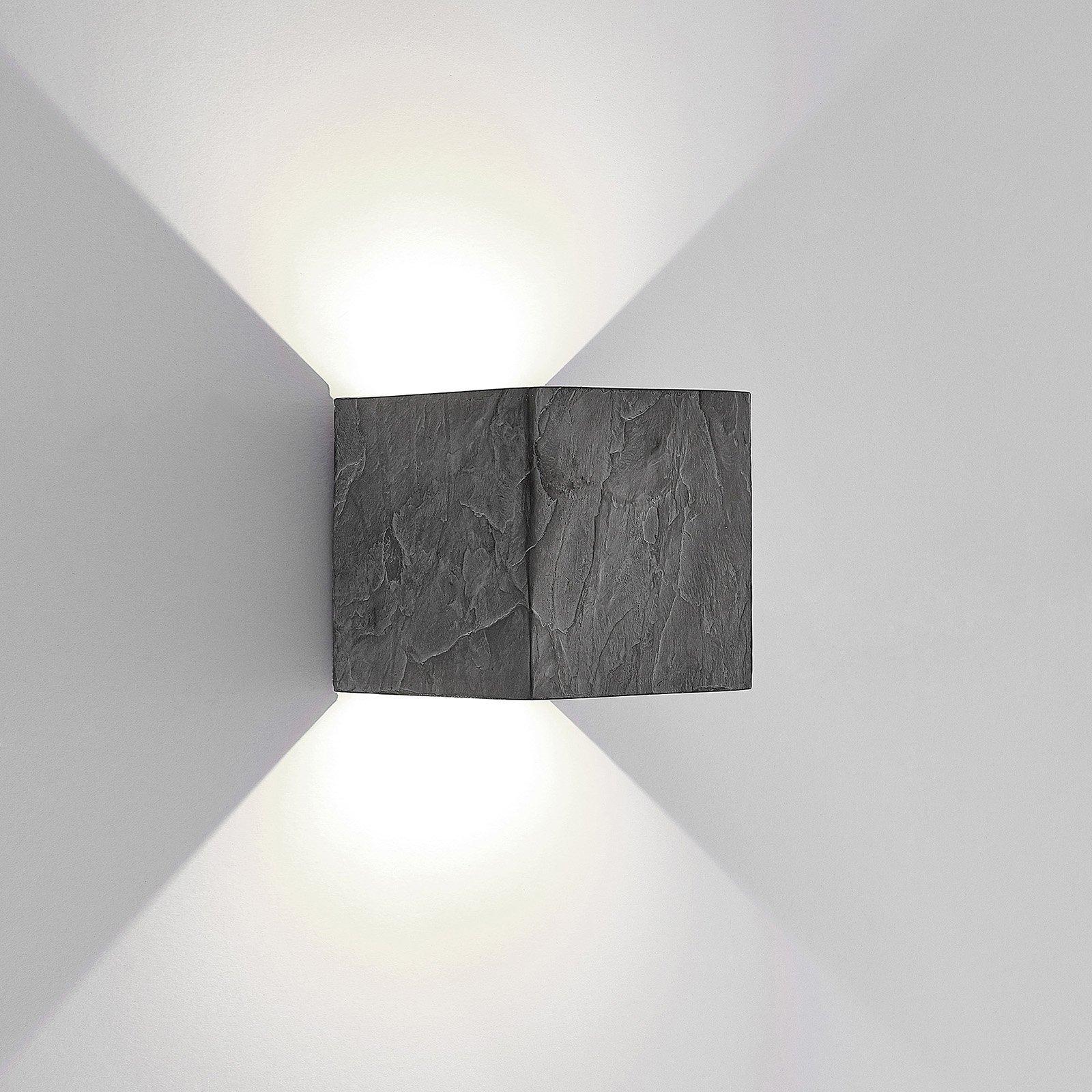 Lucande utendørs LED-vegglampe Naja, skiferdesign