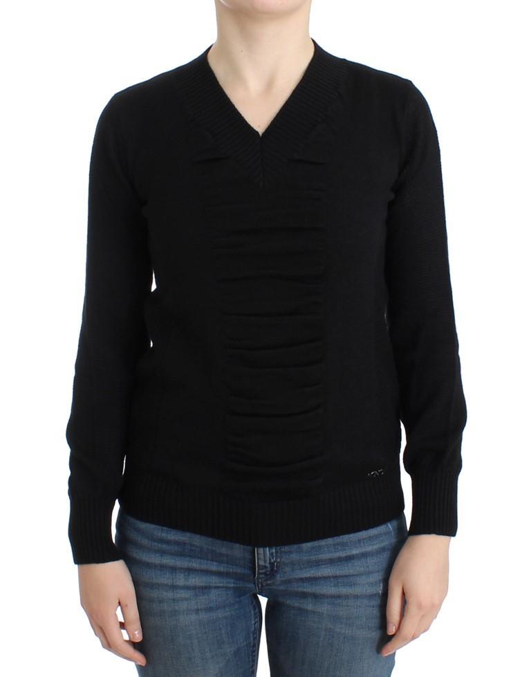 Costume National Women's V-neck Wool Sweater Black SIG12087 - XS