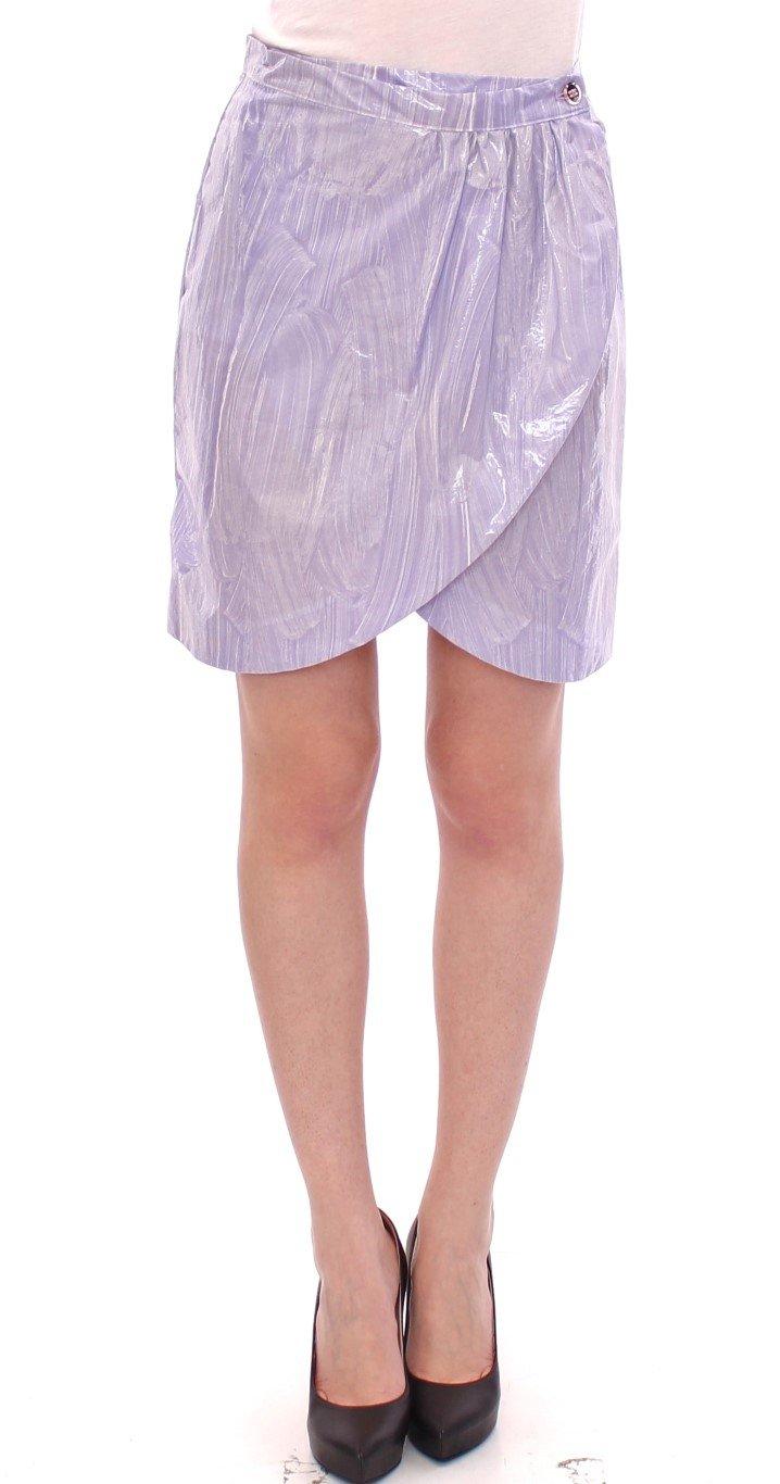 Licia Florio Women's Viscose Above-Knee Wrap Skirt Purple GSS10163 - IT42 M