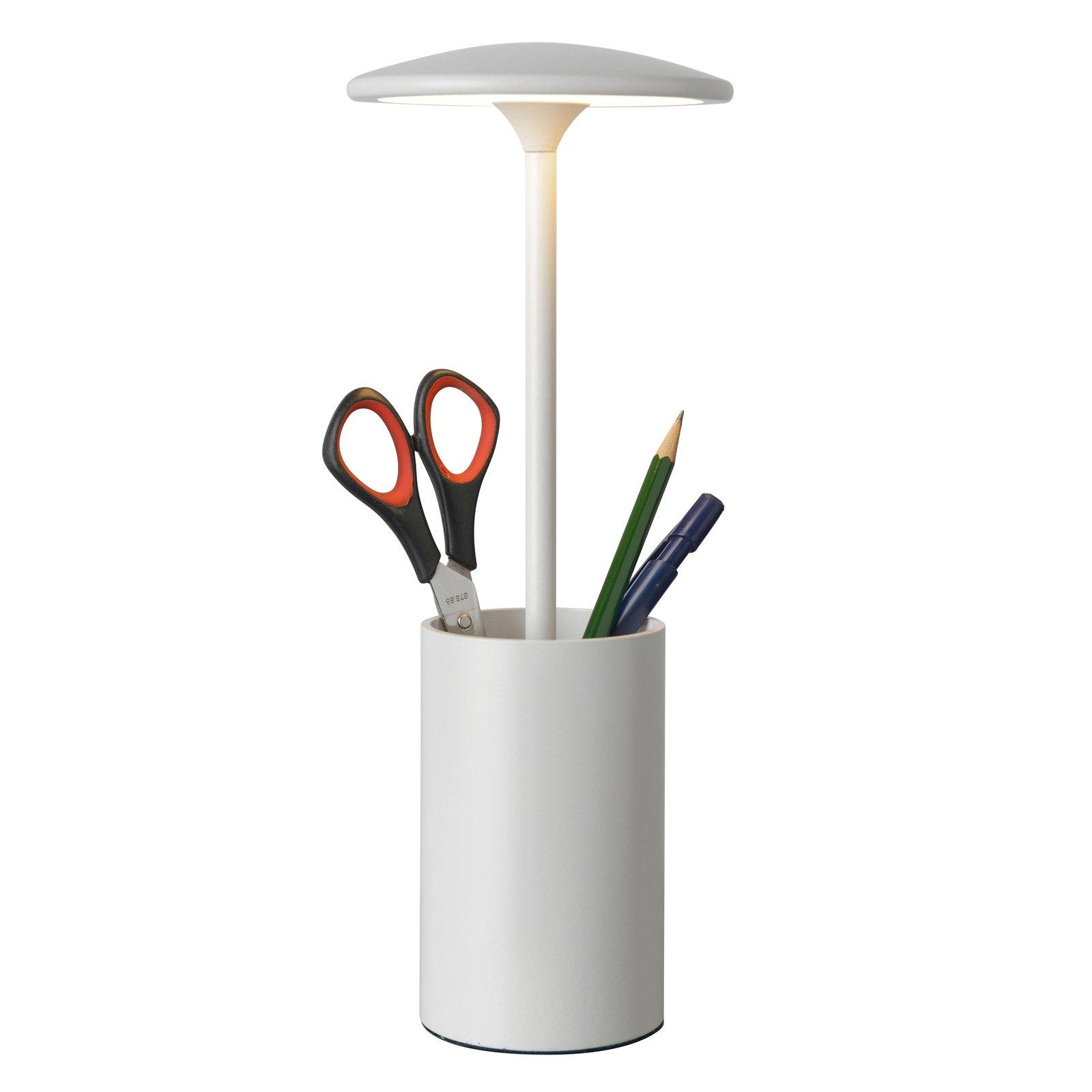LED-bordlampe Pott med beholder, hvit