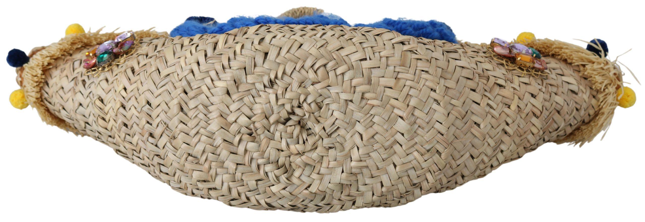 Dolce & Gabbana Women's Straw Fur Balls Crystals Tote Bag Multicolor VAS9628