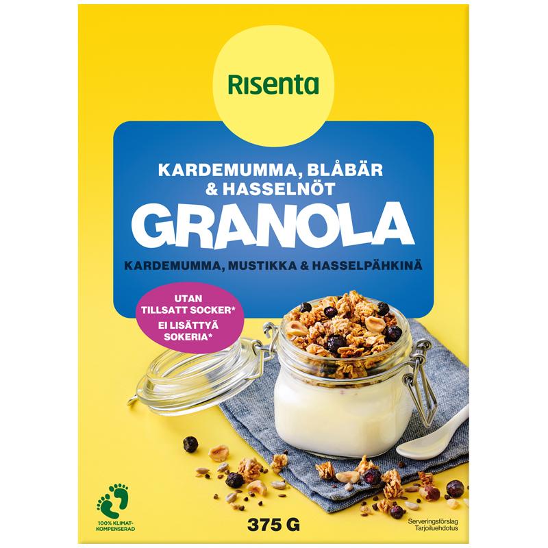 """Granola """"Kardemumma, Mustikka & Hasselpähkinä"""" 375g - 32% alennus"""