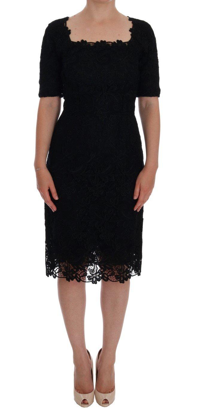 Dolce & Gabbana Women's Floral Ricamo Sheath Dress Black DR1081 - IT40 S