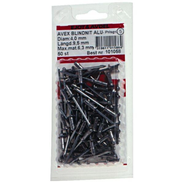 Ejot 101038 Blindnagel AVEX, aluminium/stål 3,2 x 11 mm, STD 50-pakning