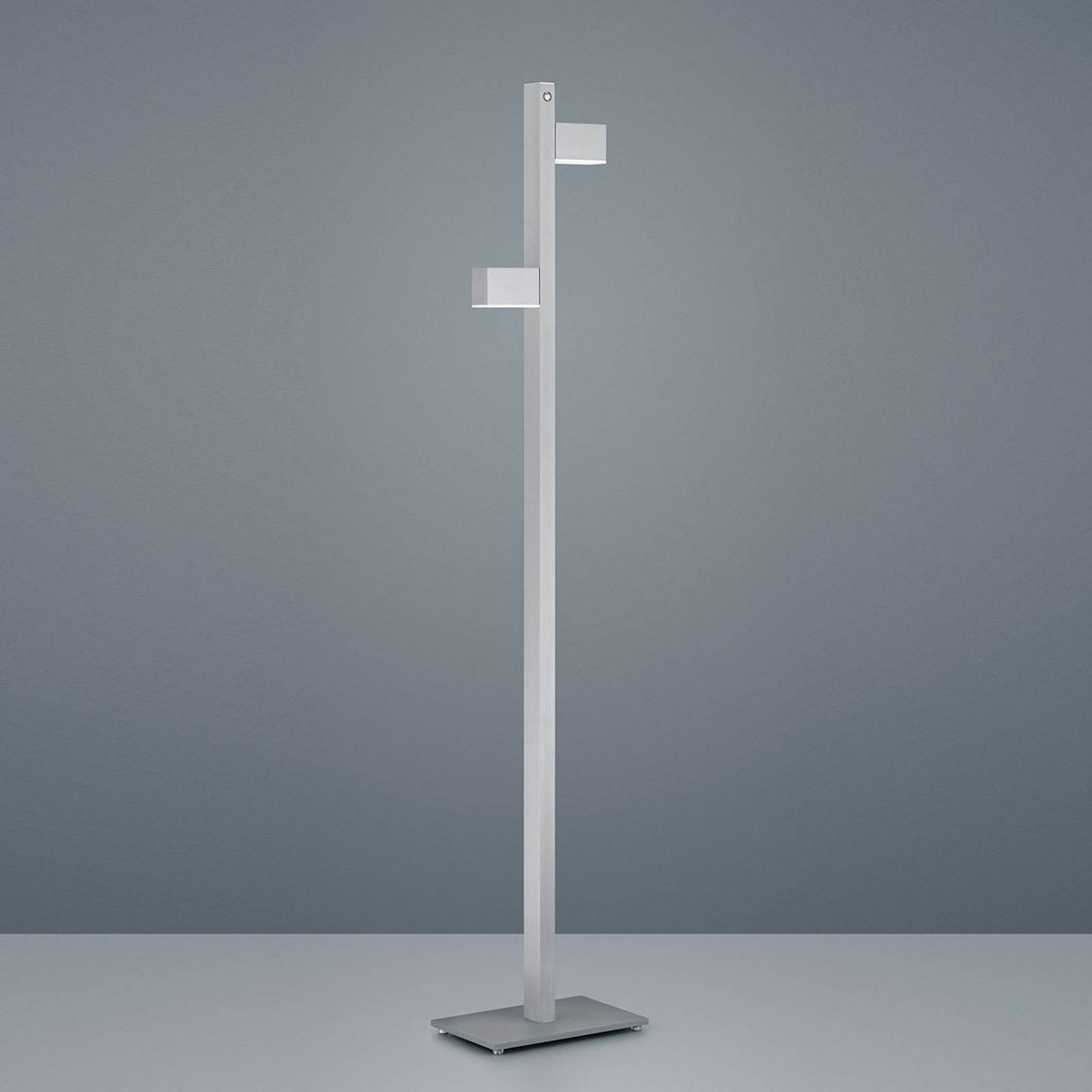 Helestra Arta LED-gulvlampe, nikkel matt/krom